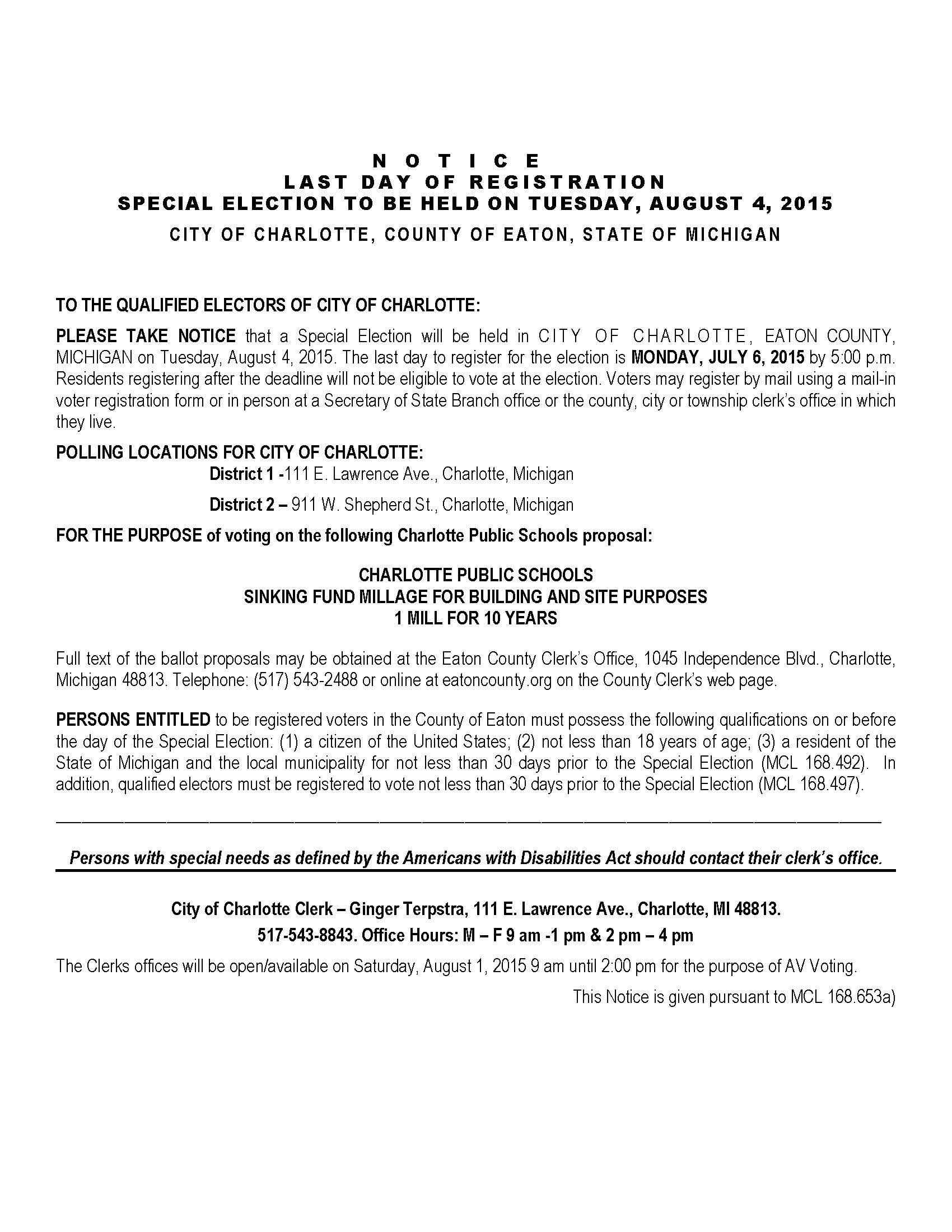 Notice of Election