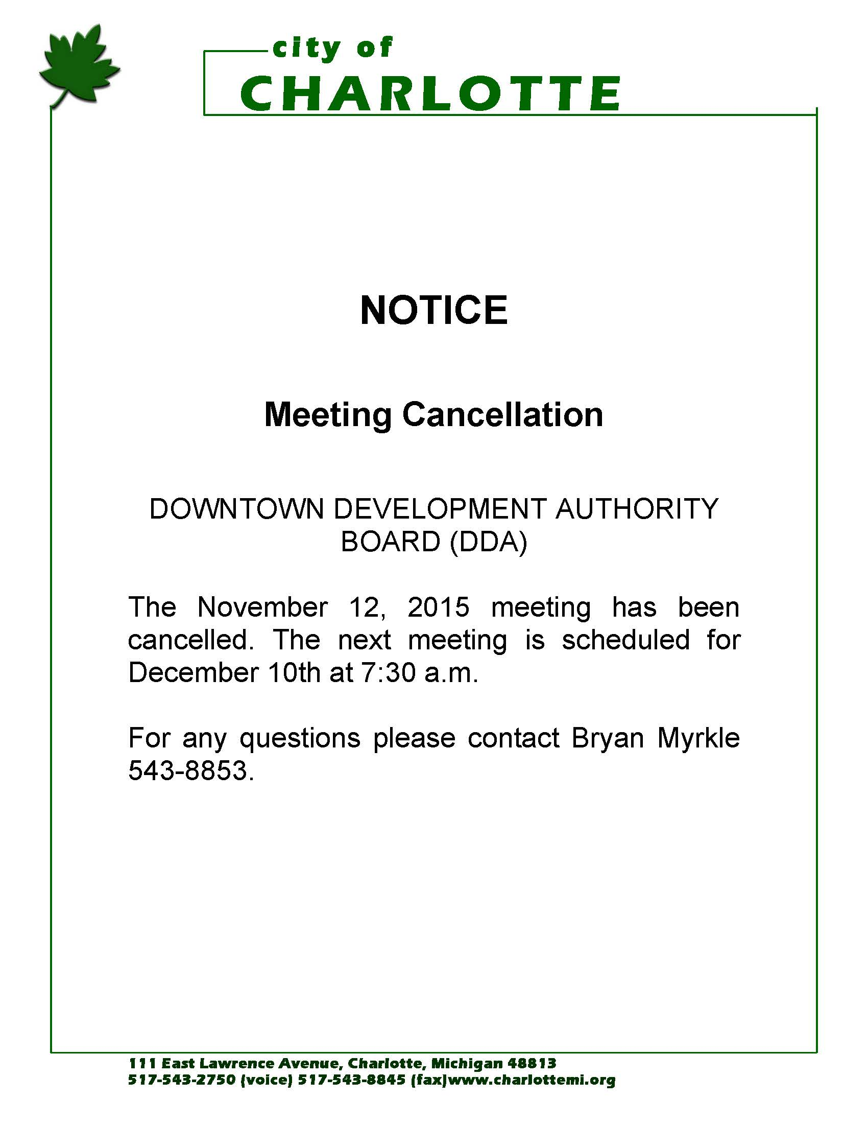 Notice of meeting cancellation for the downtown for Notice of board meeting template