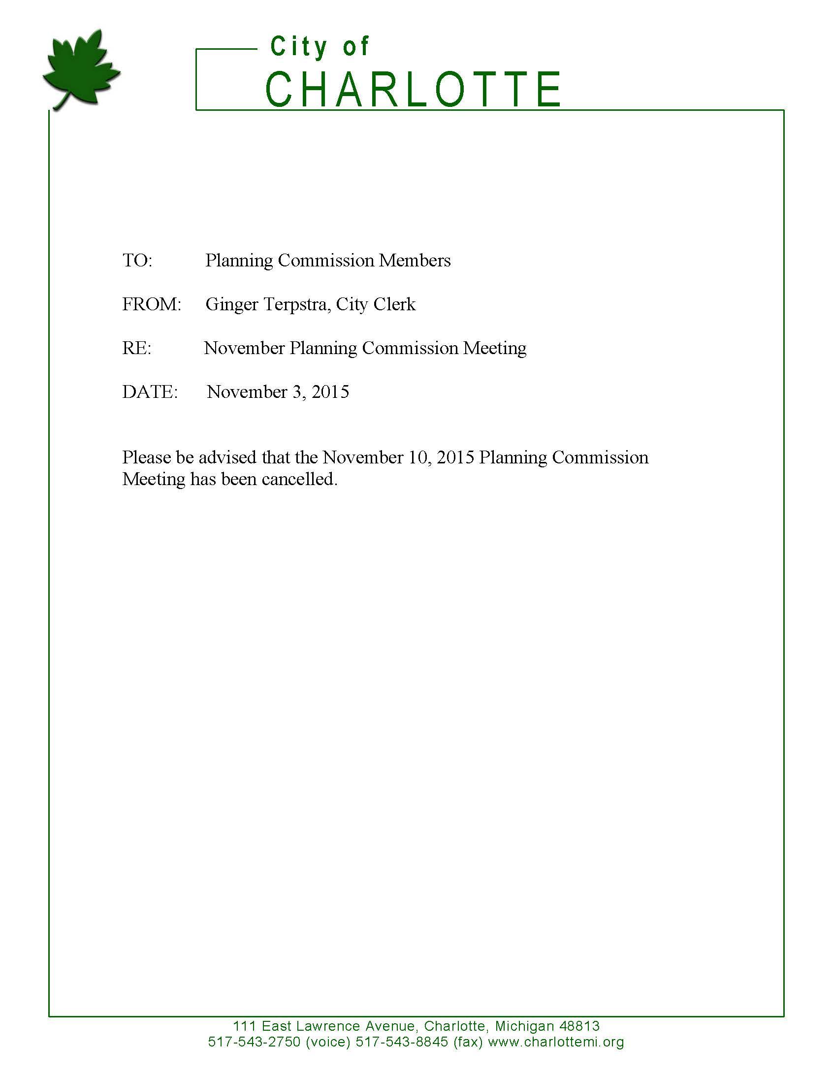 Planning Commission Notice