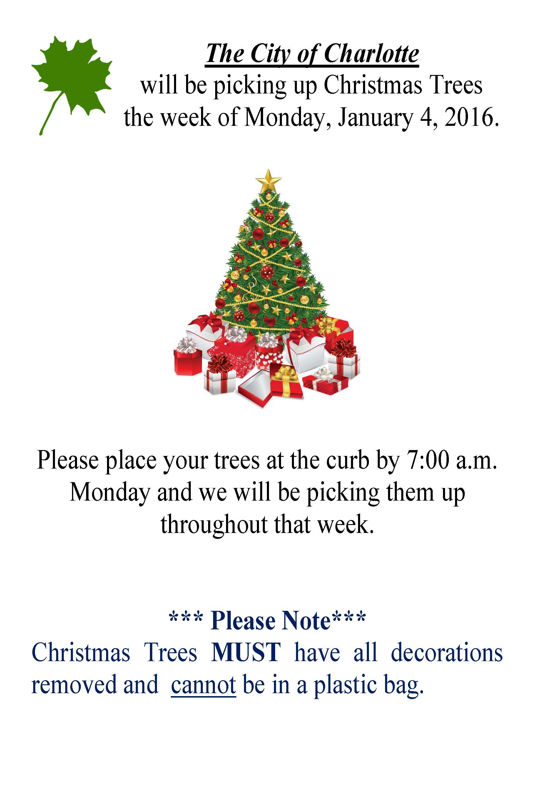 Christmas Tree Pick Up Scheduled For Week Of January 4 2016 City