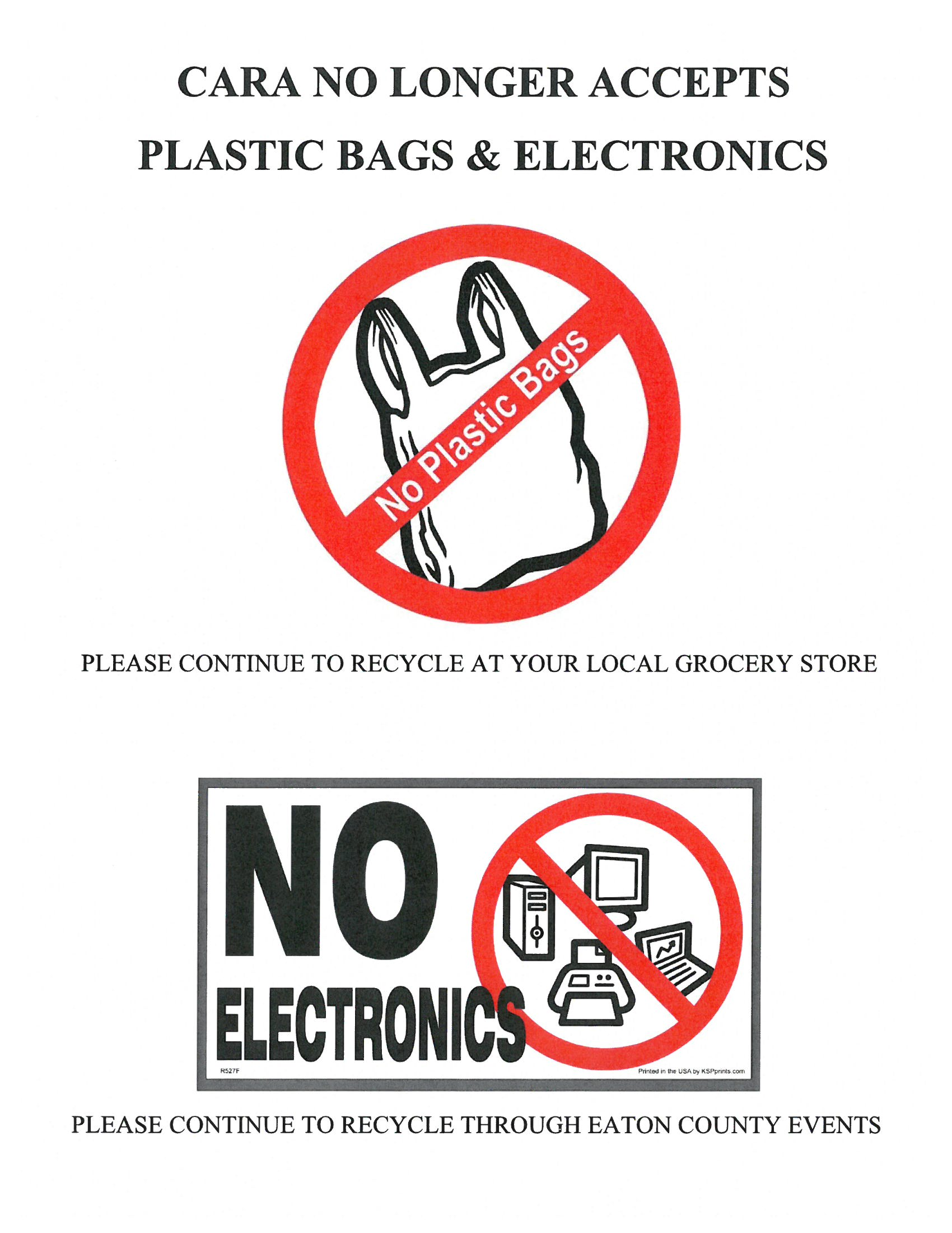 No Bags and Electronic
